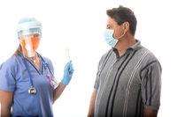 Nurse pathologist holding COVID-19 sterile swabs for patient testing
