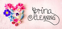 Spring Flower Blossoms Heart, Calligraphy Spring Cleaning