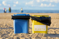 Waste bins on the beach of Swinoujscie in Poland for the cleanliness of the beach