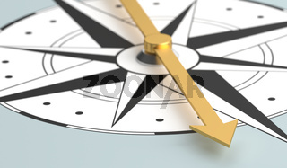 Close-up of compass  - 3d rendering
