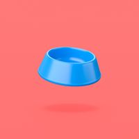 Blue Pets Bowl on Red Background
