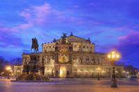 Semper opera house at dusk. Dresden Germany