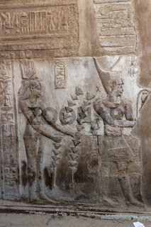 Detailed ancient Egyptian bas relief carvings in the Temple of Kom Ombo