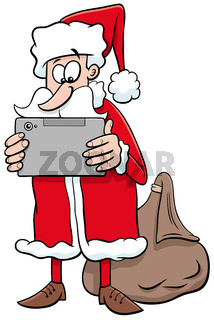 cartoon Santa Claus Christmas character with tablet pc