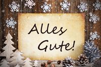 Old Paper, Christmas Decoration, Alles Gute Means Best Wishes, Snowflakes