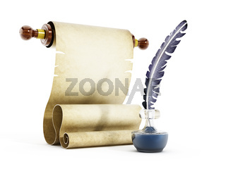 Parchment, quill and ink