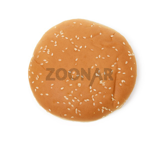 baked round burger bun isolated on white plate