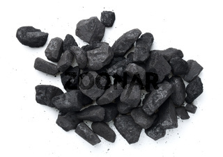 Heap Of Coal Isolated On White Background