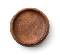 Top view of empty wooden bowl