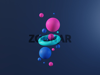 Multi colored abstract 3d render balls on dark blue background. Ai, big data, cloud technology