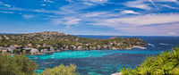 Panoramic image coastline of Santa Ponsa town in the south-west of Majorca Island. Located in the municipality of Calvia