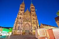 Nurnberg. St. Lorenz church and square architecture night view in Nuremberg