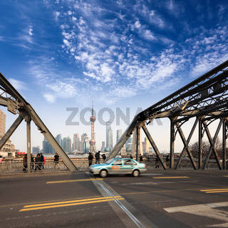 shanghai garden bridge with pudong skyline