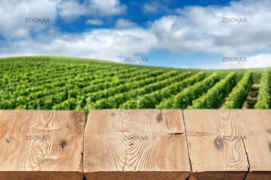 Wooden boards or table top against blurred vineyard under blue sky on background. Use as template for display or montage of your products. Close up