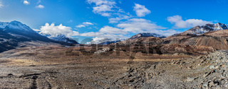 Panorama Himalayan landscape in Hiamalayas near Baralacha La pass. Himachal Pradesh