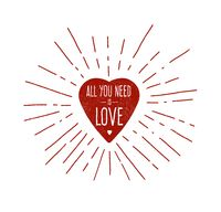 Hand drawn heart illustration with text words - All You Need Is Love
