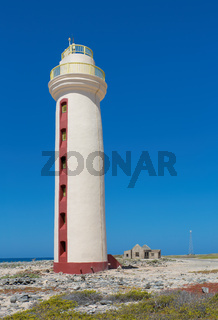 Lighthouse with ruin on coast of Bonaire