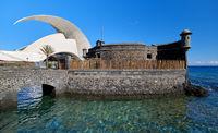 Tenerife, Spain -October 14,2019: Fragment of famous place Auditorio de Tenerife building, architectural symbol of Santa Cruz de Tenerife city, Canary Islands. Designed by Santiago Calatrava, Spain