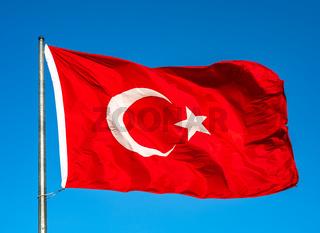 Turkish flag waving in the sky, Turkey.