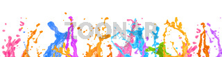 Wide web banner design of abstract liquid paint splashes over white background