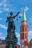 Lady Justice in the old town of Frankfurt