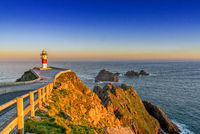 the Cabo Ortegal lighthouse on the coast of Galicia at sunrise
