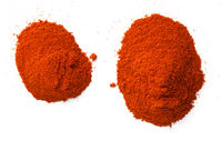Cayenne Pepper Powder Piles Isolated On White