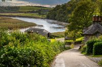 Looking down the road to Cotehele Quay on the River Tamar in Devon
