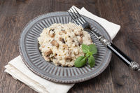 Mushroom risotto on plate, close up view