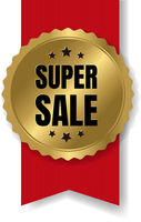Best Sale Badge With Ribbon And White Background