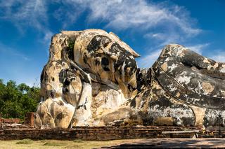 Statue of reclining Buddha at Wat Lokayasutharam. Ayutthaya, Thailand