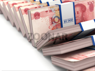 Row of packs of yuan. Lots of cash money.