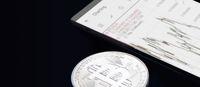 Physical bitcoin. Virtual crypto currency coin. Blockchain technology.