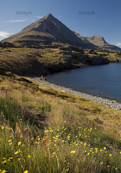 Berufjoerdur fjord with the mountain Godaborg, Teigarhorn, East Iceland, Iceland, Europe