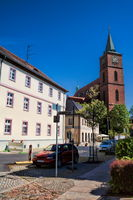 Bernau near Berlin, Germany - 04/30/2019 - old town with church of saint marien