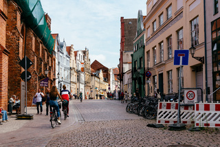 Bicycles in street in historic centre of Wismar, Germany