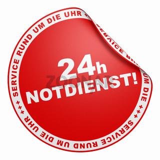3D Aufkleber - 24h Notdienst Service rund um die Uhr rot