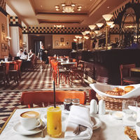 Breakfast in a luxury hotel cafe, classic interior design