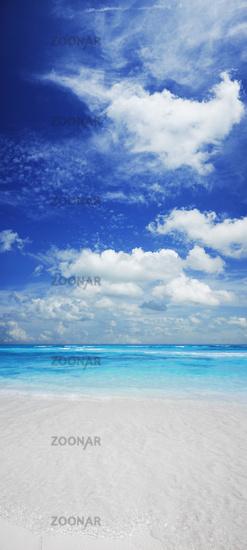 Vertical panorama of exotic tropical beach