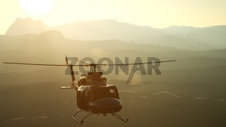 8K Slow Motion United States military helicopter in Vietnam