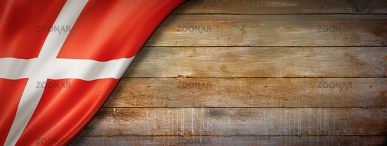Danish flag on vintage wood wall banner