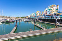 Port with boats and jetty in  Portuguese Albufeira