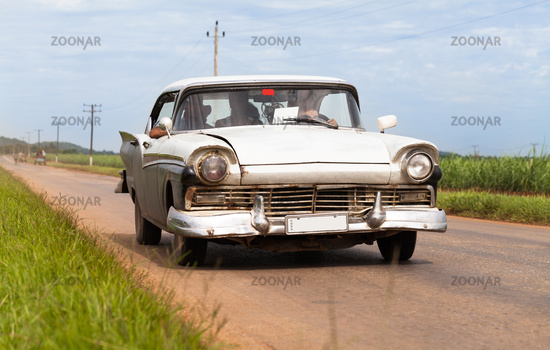 American white classic car in Cuba