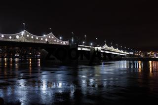 Drawbridge at night