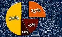 Pie chart with twenty five percent portion cut out