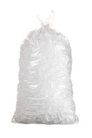 Isolated shot of bag of ice against a white background
