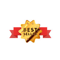Glossy badge with red tape, golden best seller icon isolated on white
