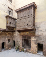 Patio of ottoman historic house of El Sehemy with wooden oriel windows