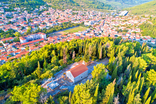 Blato on Korcula island historic town in green landscape aerial view