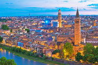 Verona towers and rooftops dawn view from hill